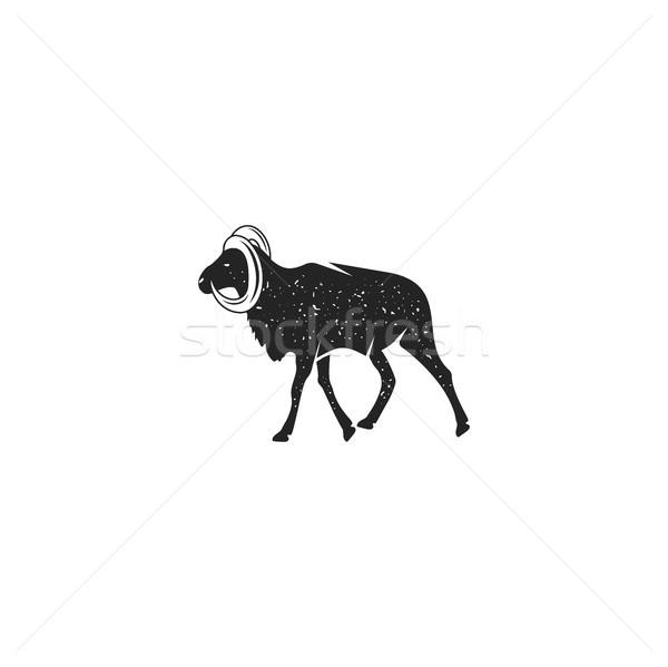 Cabra silueta forma vintage dibujado a mano Foto stock © JeksonGraphics