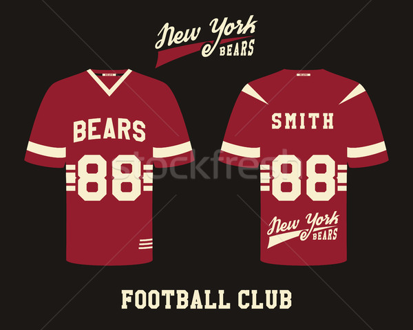 American football uniform, t-shirt design with team logo, label, badge. Can be use in infographics,  Stock photo © JeksonGraphics