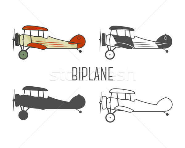 Set of vintage aircraft design elements. Retro Biplanes in color, line, silhouette, monochrome desig Stock photo © JeksonGraphics