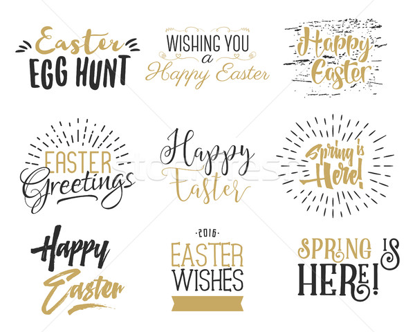 Easter wishes overlays, lettering labels design set. Retro holiday badges. Hand drawn emblem with ri Stock photo © JeksonGraphics