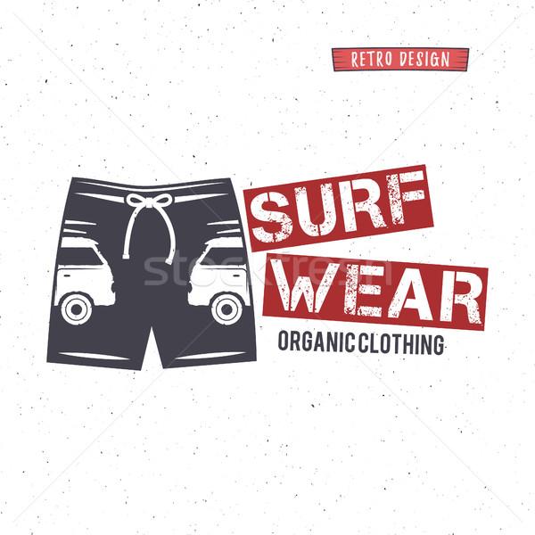 Vintage surfen dragen stempel ontwerp surfen Stockfoto © JeksonGraphics