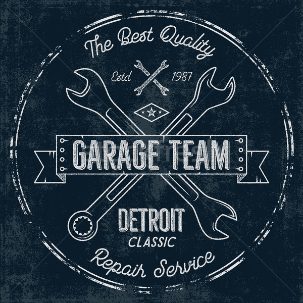 Garagem serviço vintage projeto gráficos Detroit Foto stock © JeksonGraphics