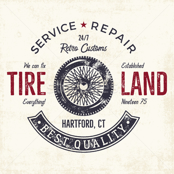 Vintage label design. Tire service emblem in monochrome retro style with vector old wheel and typogr Stock photo © JeksonGraphics
