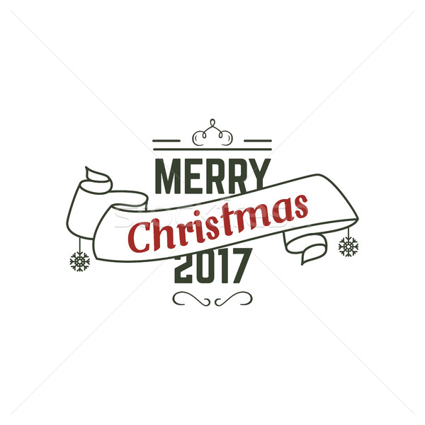 Merry Christmas 2017 typography wish sign. illustration of Christmas calligraphy label. Use for holi Stock photo © JeksonGraphics