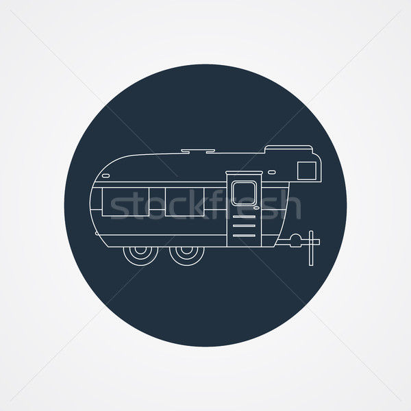 RV camping icon logo and badge. Caravan on dark button in flat line design. Motorhome lifestyle. Iso Stock photo © JeksonGraphics