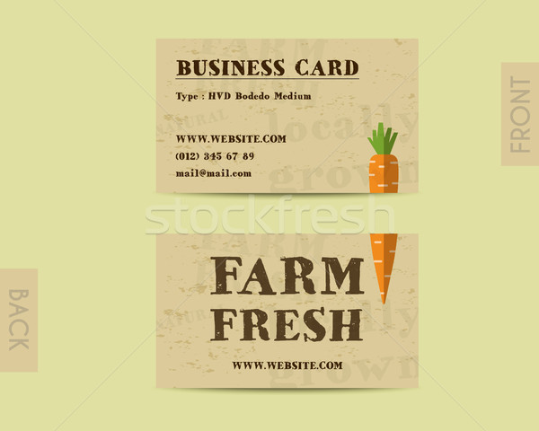 Stylish Farm Fresh visiting card, template with carrot. Mock up design. Retro colors. Best for natur Stock photo © JeksonGraphics