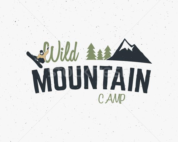 Mountain camp vintage mountain explorer label Outdoor adventure logo design Travel hand drawn and hi Stock photo © JeksonGraphics