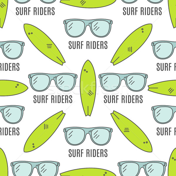 Surfing patterns. Summer seamless design with surfer glasses, surfboards. Cute flat colors. illustra Stock photo © JeksonGraphics