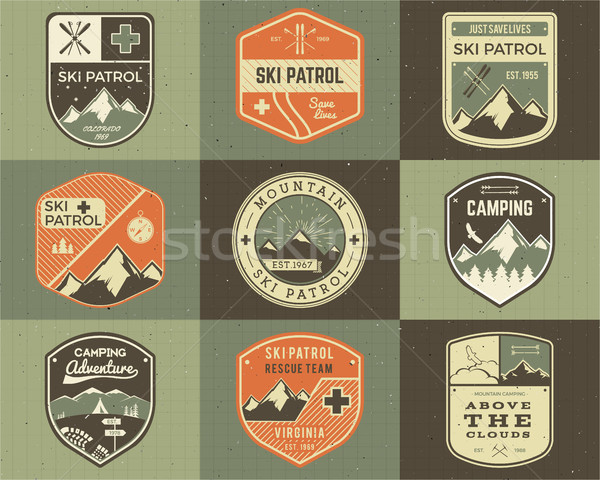 Set of Retro style Ski Club, Patrol Labels. Classic Mountain elements. Winter or summer camping expl Stock photo © JeksonGraphics