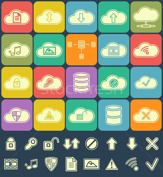 Silhouet wolk opslag gegevens analyse netwerk Stockfoto © JeksonGraphics