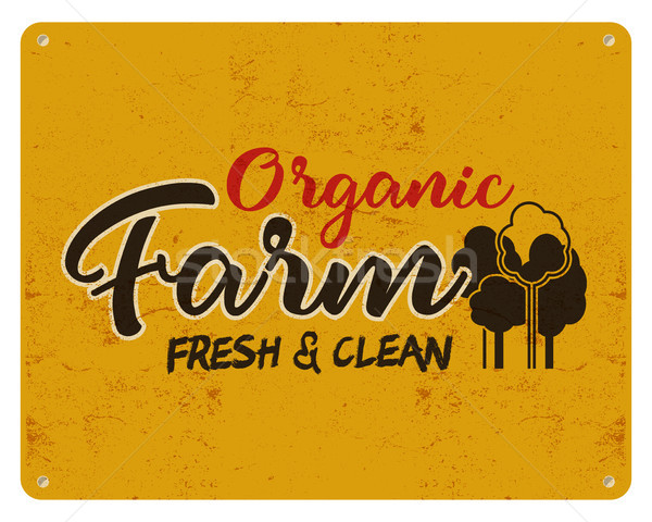 Organic farm, eco food poster. Fresh and clean. Local product logo designs. Typographic insignia in  Stock photo © JeksonGraphics