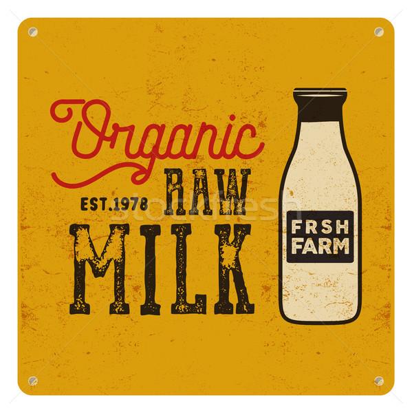 Zdjęcia stock: Vintage · organiczny · surowy · mleka · podpisania · żółty