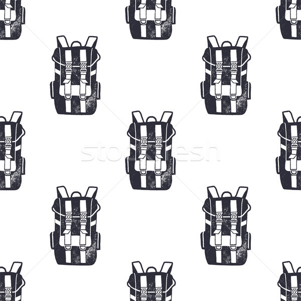 Vintage hand drawn backpacks seamless pattern. Monochrome design for fabric prints, t shirts and oth Stock photo © JeksonGraphics
