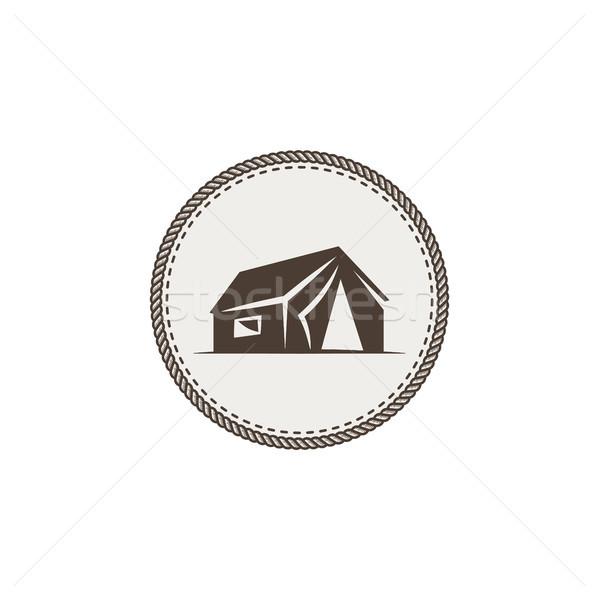テント アイコン 孤立した モノクロ キャンプ デザイン ストックフォト © JeksonGraphics