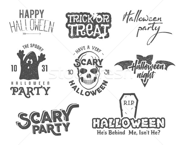 Halloween 2016 party vintage labels, tee designs with scary symbols - ghost, bat, skull and typograp Stock photo © JeksonGraphics