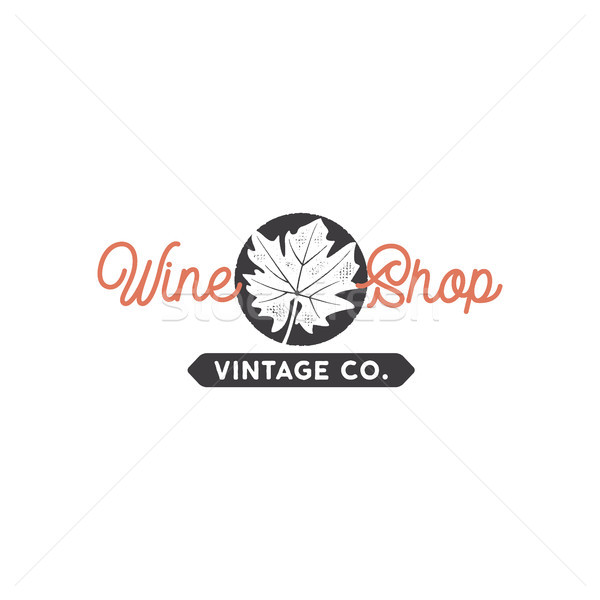 Wine shop logo template concept. Grape leaf in black circle and typography sign - wine shop. Stock v Stock photo © JeksonGraphics