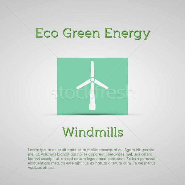 Vento energia cartaz conceitos ecologia verde Foto stock © JeksonGraphics