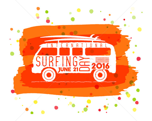 Surfing day label graphic elements. Vacation typography emblem on watercolor ink splash. Surfer part Stock photo © JeksonGraphics