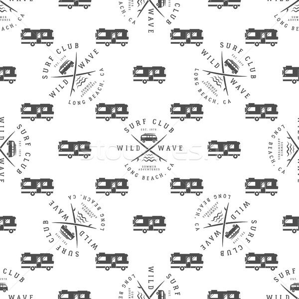 Surfing Seamless pattern with van. Surfer club badge. Summer wallpaper printing design adventure sy Stock photo © JeksonGraphics