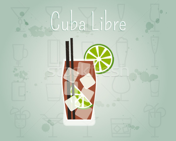 Cuba Libre Cocktail banner and poster template. Summer stylish design. Isolated on unusual Backgroun Stock photo © JeksonGraphics