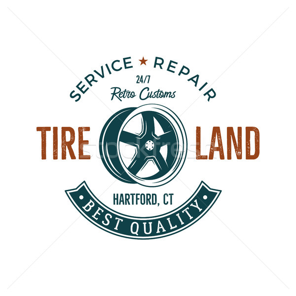 Vintage label design. Tire service emblem in retro color style with old wheel and typography element Stock photo © JeksonGraphics
