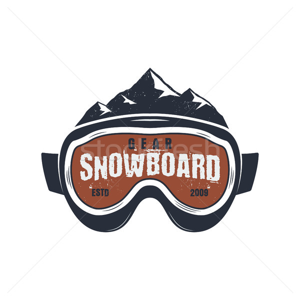 Snowboarding óculos de proteção extremo logotipo etiqueta modelo Foto stock © JeksonGraphics