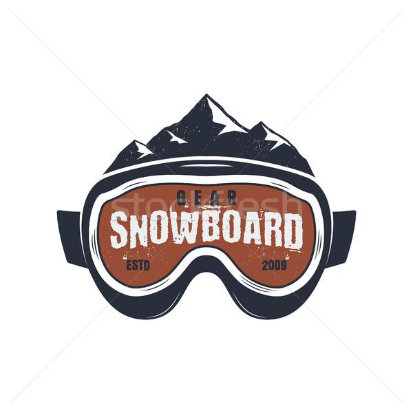 Stockfoto: Snowboarden · stofbril · extreme · logo · label · sjabloon