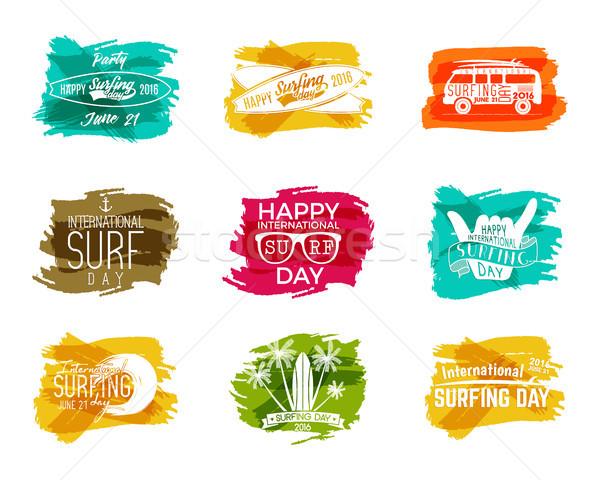 夏 サーフィン 日 グラフィック 要素 ベクトル ストックフォト © JeksonGraphics