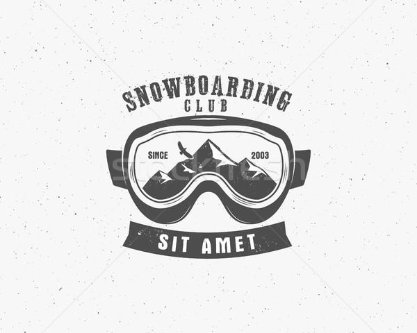 Snowboarding goggles extreme logo, label template. Winter snowboard sport store badge. Emblem, icon. Stock photo © JeksonGraphics