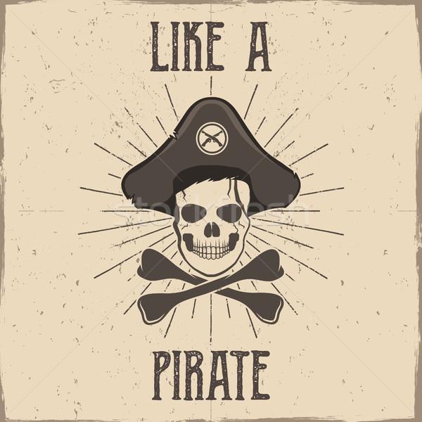 Вдохновенный типографики пиратских Label плакат мотивация Сток-фото © JeksonGraphics