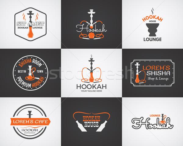 Hookah badges ontwerp communie collectie Stockfoto © JeksonGraphics