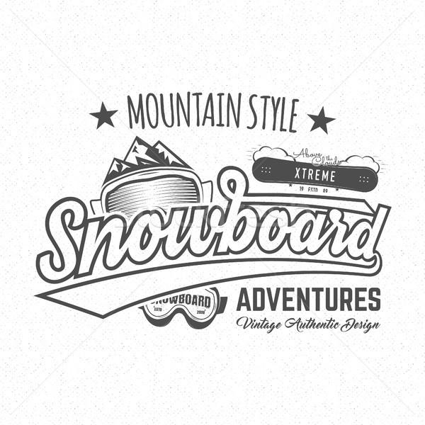 Winter snowboard sports label, t-shirt. Vintage mountain style shirt design. Outdoor adventure typog Stock photo © JeksonGraphics