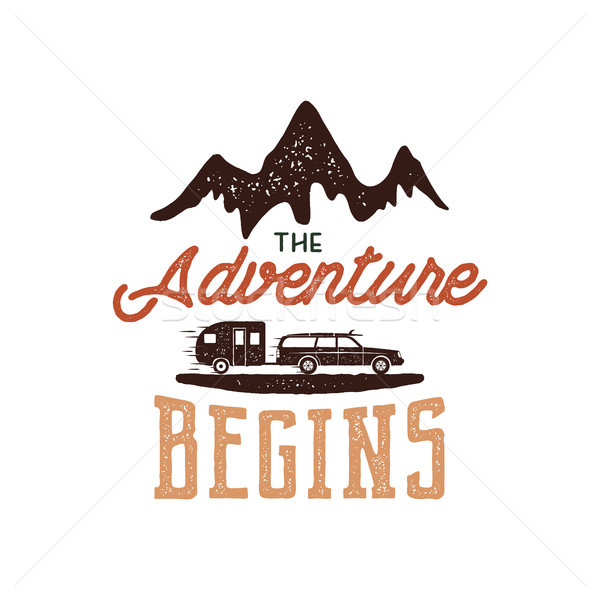 Vintage adventure Hand drawn label design. The Adventure Begins sign and outdoor activity symbols -  Stock photo © JeksonGraphics