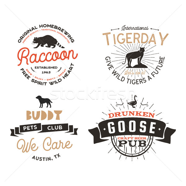 Wild animal Badges set and great outdoors activity insignias. Retro illustration of animal badges. T Stock photo © JeksonGraphics