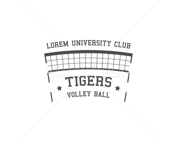 Université volleyball étiquette badge logo icône Photo stock © JeksonGraphics