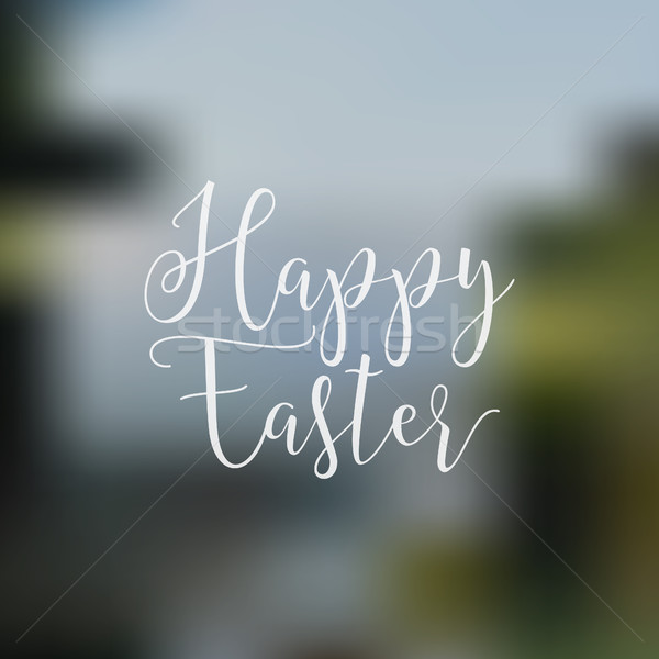 Easter sign - Happy Easter. Easter wish overlay, lettering label design. Retro holiday badge. Hand l Stock photo © JeksonGraphics