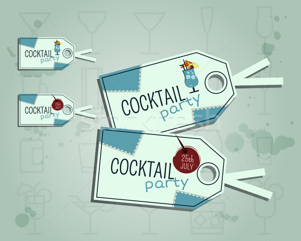 Zomer cocktail party sticker label lay-out sjabloon Stockfoto © JeksonGraphics