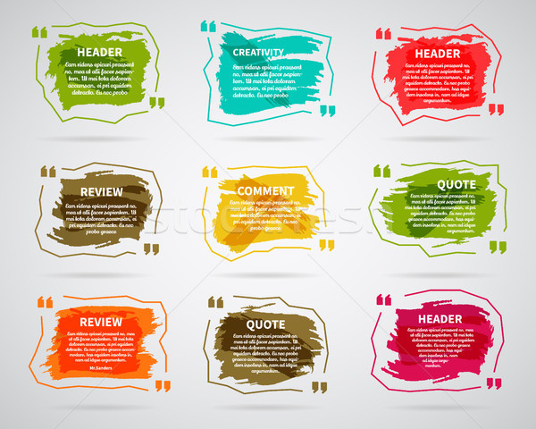 Watercolor, ink, splash Quote blank templates. Quote bubbles. Empty template. Circle business card t Stock photo © JeksonGraphics