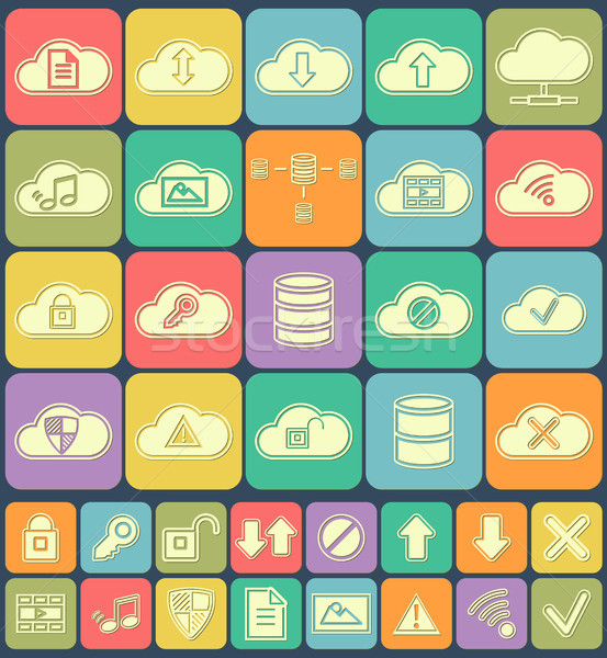 Cloud Storage, Data analysis, database, network technology settings icons flat set isolated on multi Stock photo © JeksonGraphics