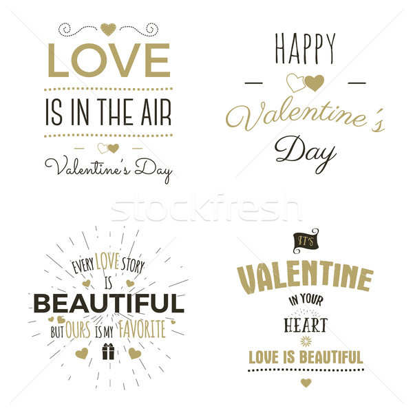 Set of Valentine day typography photo overlays, inspirational text and sun bursts.  labels. Custom q Stock photo © JeksonGraphics
