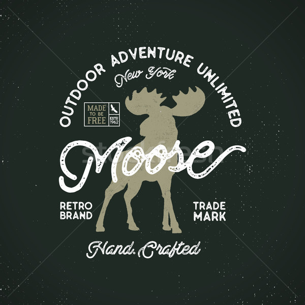 Outdoor adventure label. Vintage typography outdoors adventures with moose and texts. Retro illustra Stock photo © JeksonGraphics