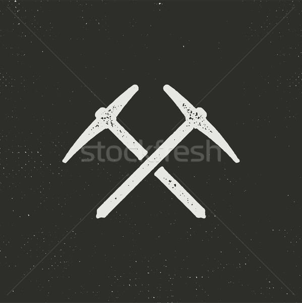 Hand drawn climbing silhouette icon. Solid pictogram. Climb black symbol. Stock . Isolated on dark b Stock photo © JeksonGraphics