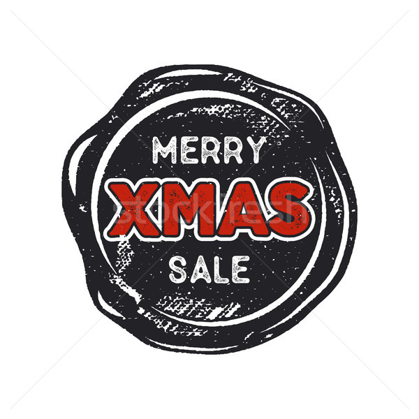 Merry Christmas sale lettering and typography elements. Holiday Online shopping type quote on handcr Stock photo © JeksonGraphics