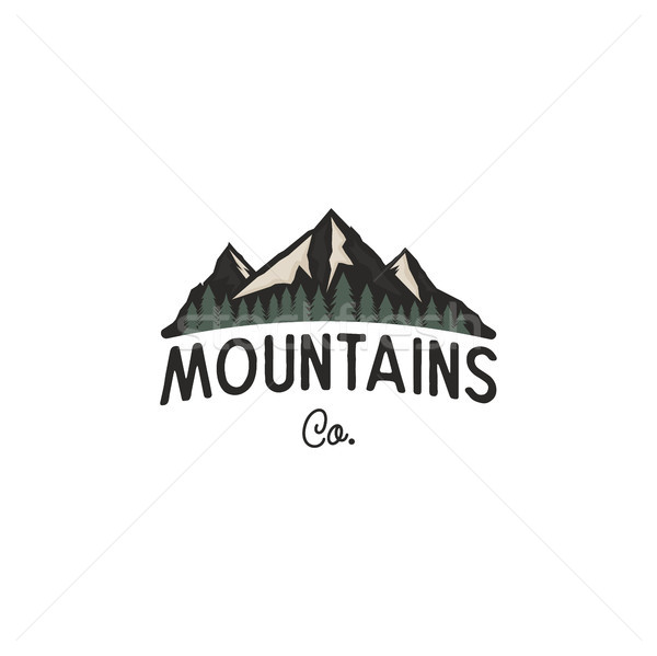 Mountains logo design template. Mountains logo co concept with trees. Vintage hand drawn style. Stoc Stock photo © JeksonGraphics