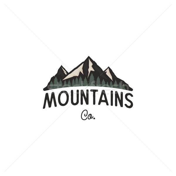 Montagnes conception de logo modèle logo arbres vintage Photo stock © JeksonGraphics