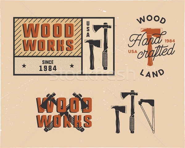 Vintage hand drawn woodworks tags logos and emblems set. Carpentry service label, patch. Typography  Stock photo © JeksonGraphics