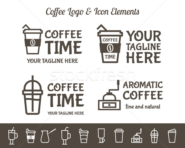 Set of Vector Coffee Elements and restaurant line icons Accessories Illustration. Can be used as Log Stock photo © JeksonGraphics
