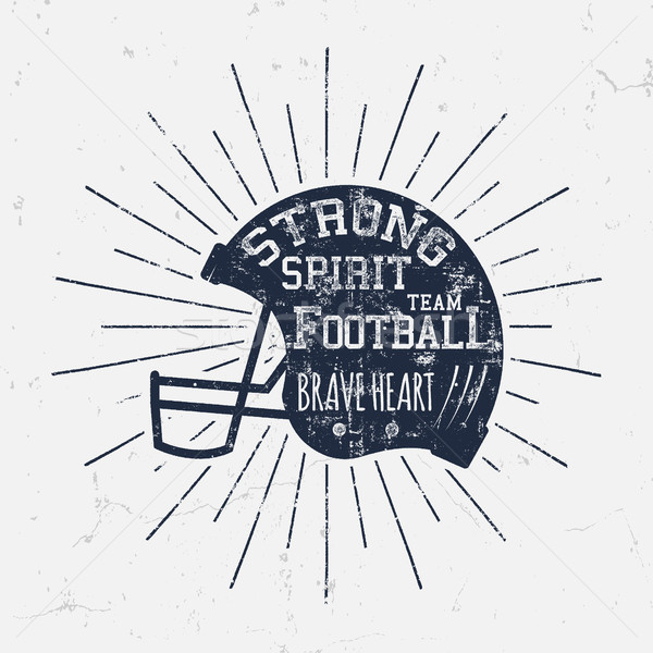 American Football retro helmet label with inspirational quote text - Strong spirit brave heart. Vint Stock photo © JeksonGraphics