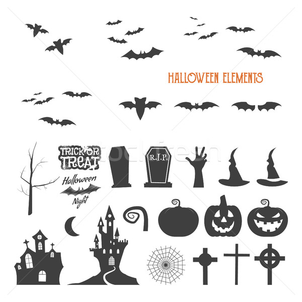 Set of halloween design creation tool kit. Icons isolate. Flat holiday design creator. Party symbols Stock photo © JeksonGraphics