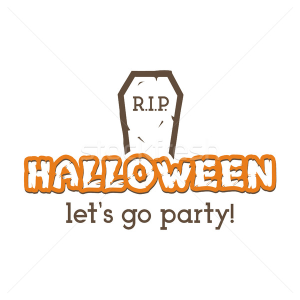 Halloween RIP party label template with tombstone and typography elements. text with retro grunge ef Stock photo © JeksonGraphics